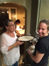Rolling out the dough with Mary, Mila and Ashley